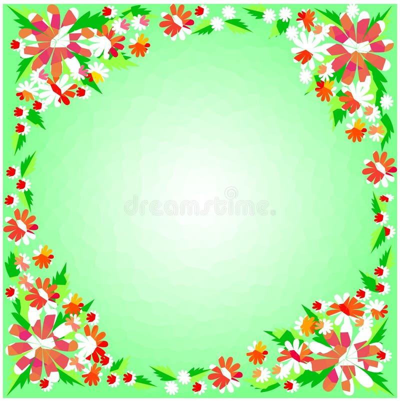 Frontera de la flor en fondo verde fotos de archivo libres de regalías