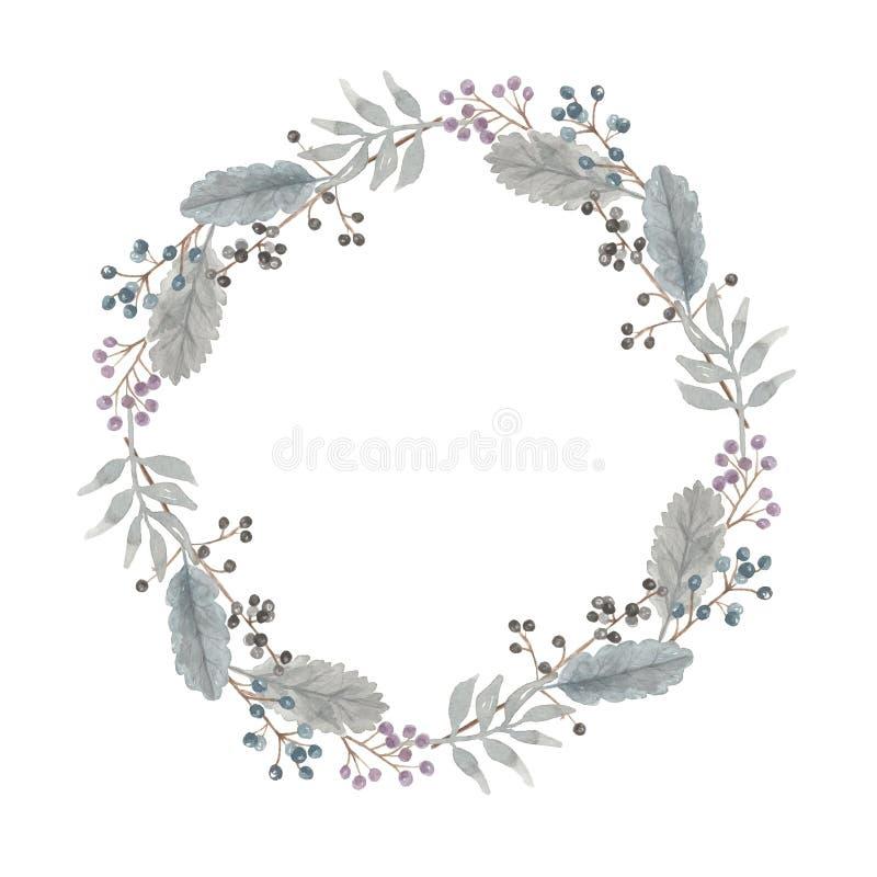 Frontera de la guirnalda de Grey Flower Leaves Berries Festive de la Navidad del invierno de la acuarela ilustración del vector
