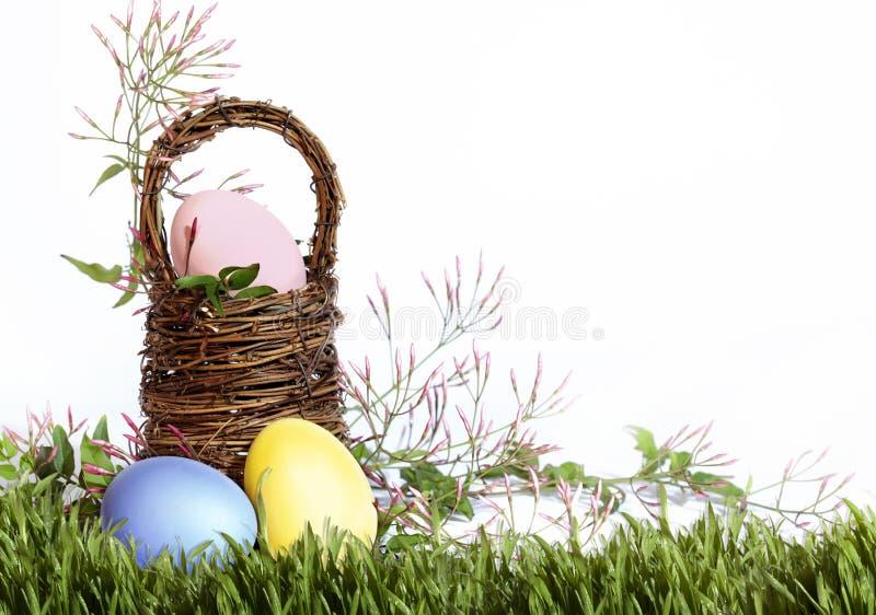 Frontera de la hierba de la cesta de los huevos de Pascua foto de archivo