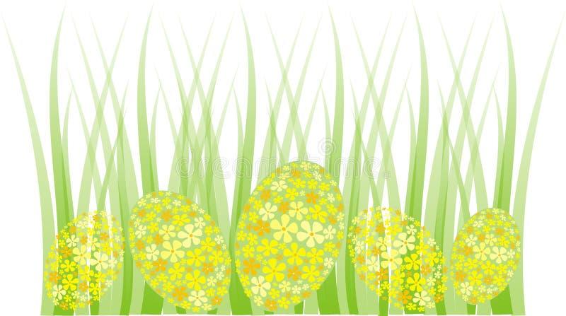 Frontera de la hierba del huevo de Pascua ilustración del vector
