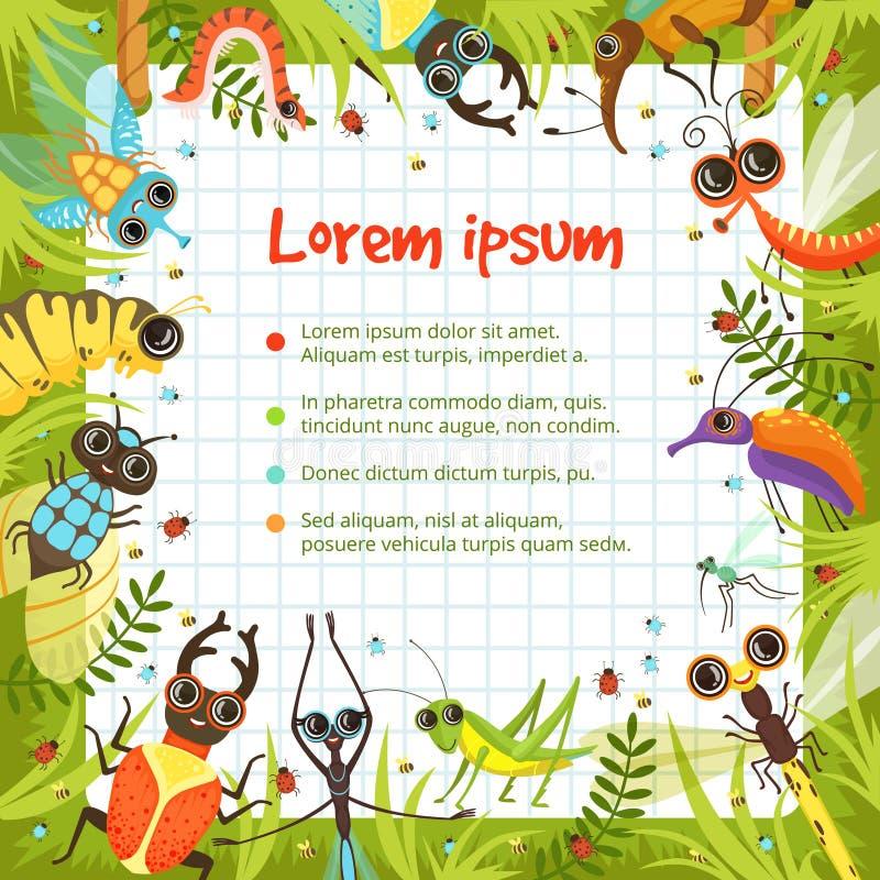 Frontera de la historieta con los insectos divertidos libre illustration