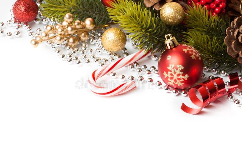 Frontera de la Navidad con el ornamento foto de archivo