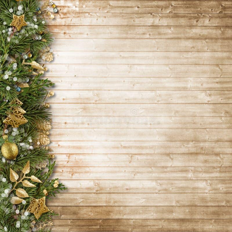 Frontera de la Navidad con la decoración del vintage en el tablero de madera fotografía de archivo libre de regalías