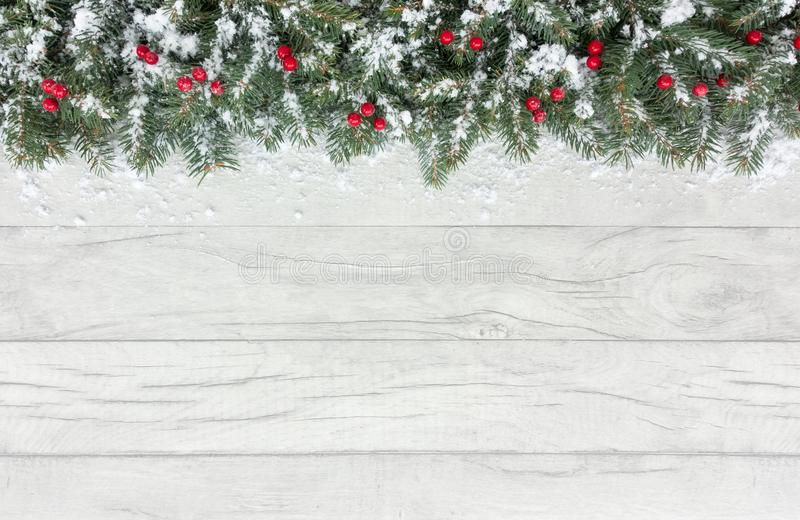 Frontera de la Navidad con las bayas y el abeto rojos nevados fotografía de archivo libre de regalías