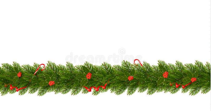 Frontera de la Navidad con las ramas de árbol Bandera horizontal libre illustration