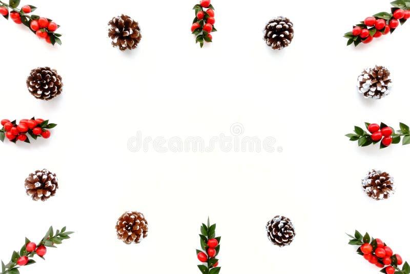 Frontera de la Navidad con los conos del pino y Berry Branches rojo fotos de archivo
