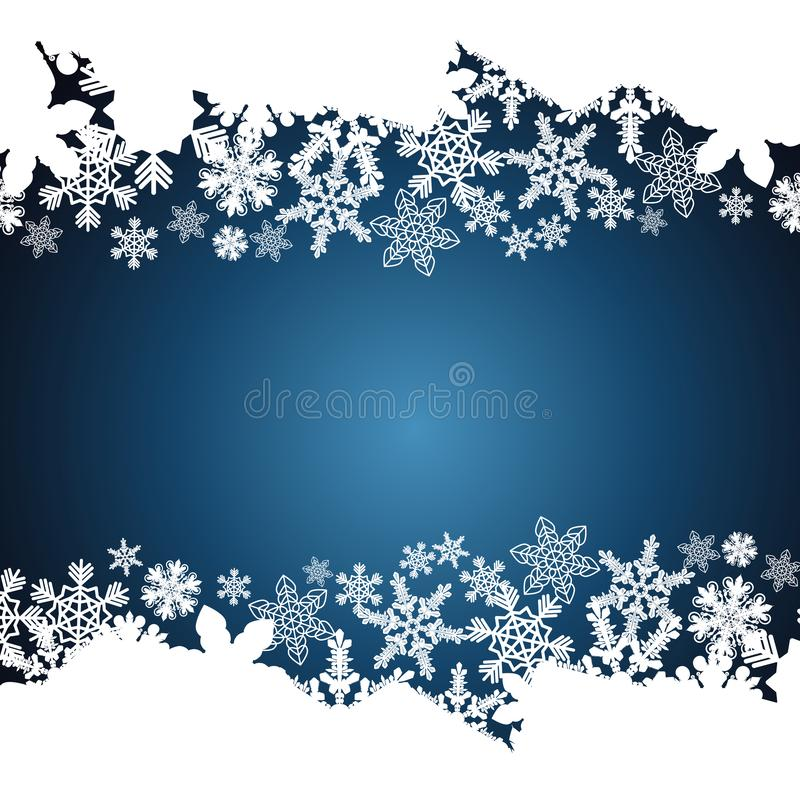 Frontera de la Navidad, fondo del diseño del copo de nieve ilustración del vector
