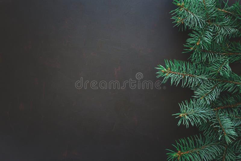 Frontera de la Navidad Ramas de árbol de abeto en fondo de madera oscuro Visión superior Copie el espacio foto de archivo libre de regalías