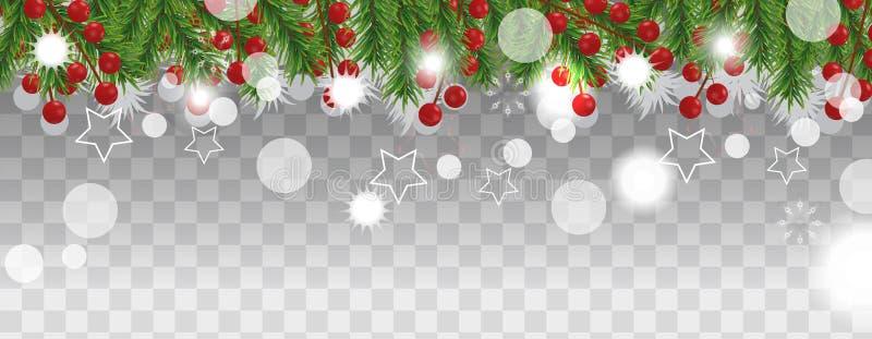 Frontera de la Navidad y de la Feliz Año Nuevo de las ramas de árbol de navidad con la baya del acebo en fondo transparente Decor stock de ilustración