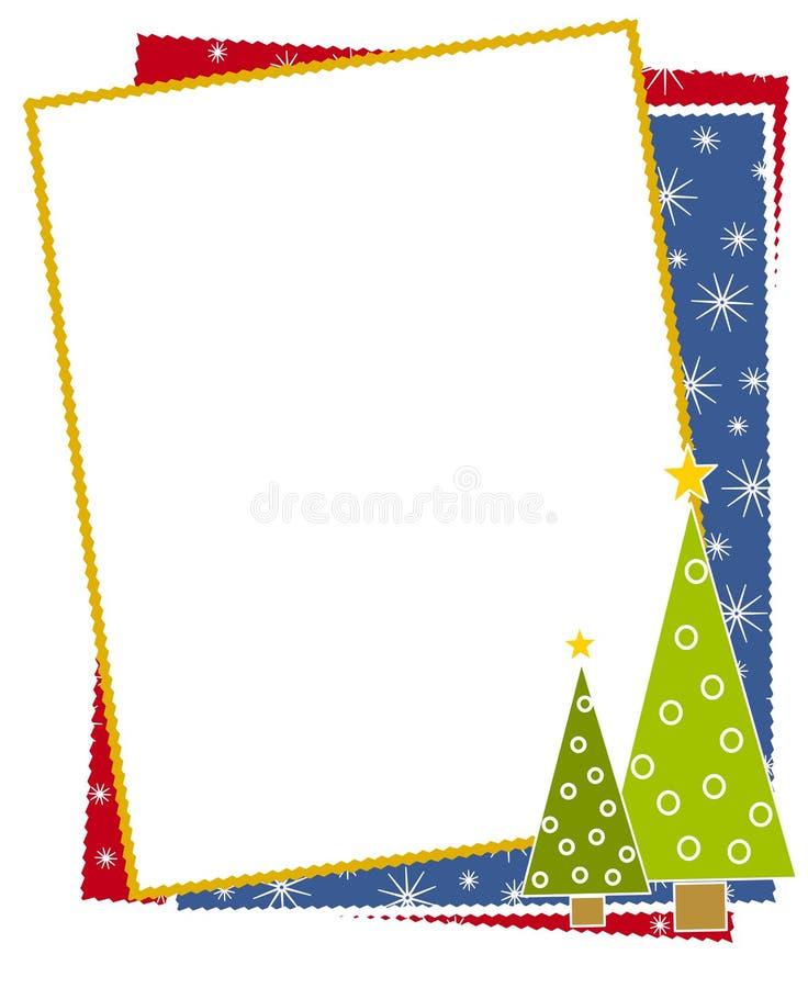 Frontera de la nieve de los árboles de navidad stock de ilustración