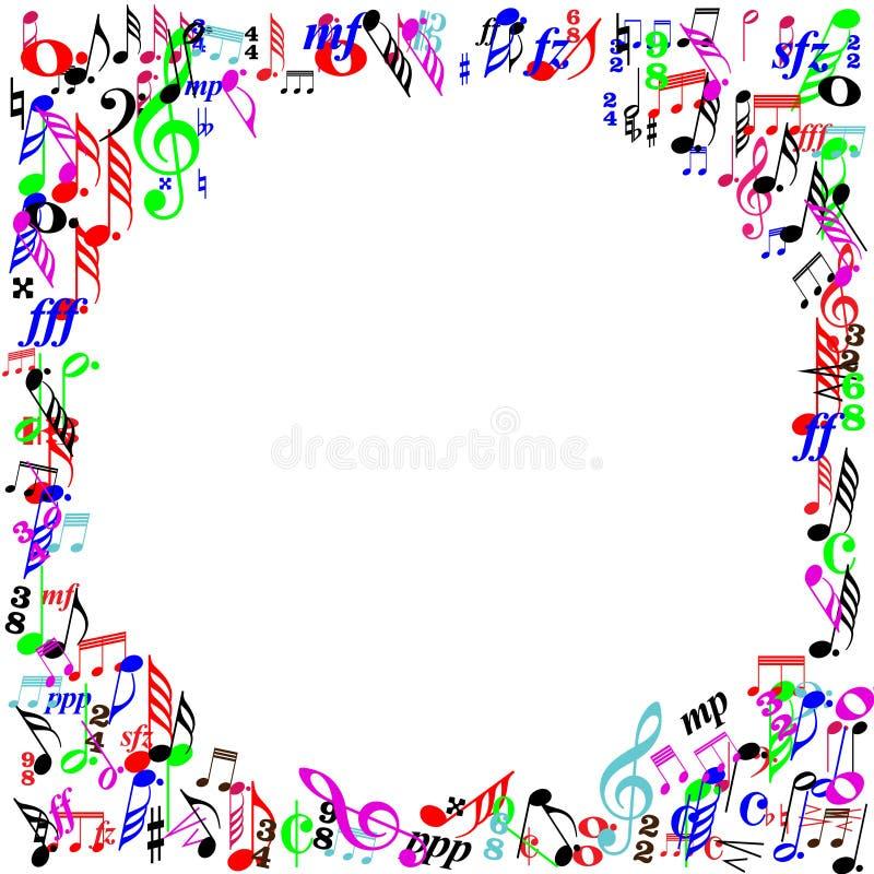 Frontera de la página de las notas de la música del color stock de ilustración