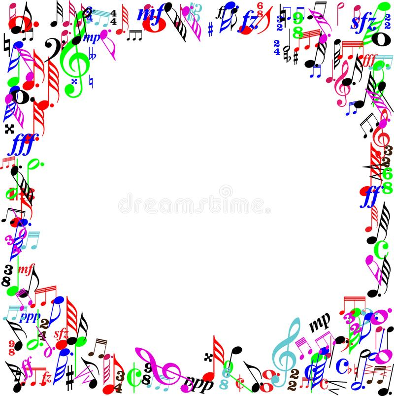 Frontera de la página de la muestra de la música del color stock de ilustración