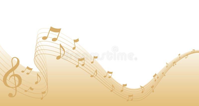 Frontera de la paginación de la música de hoja del oro stock de ilustración