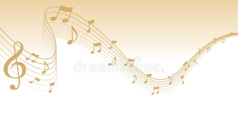 Frontera de la paginación de la música de hoja del oro ilustración del vector