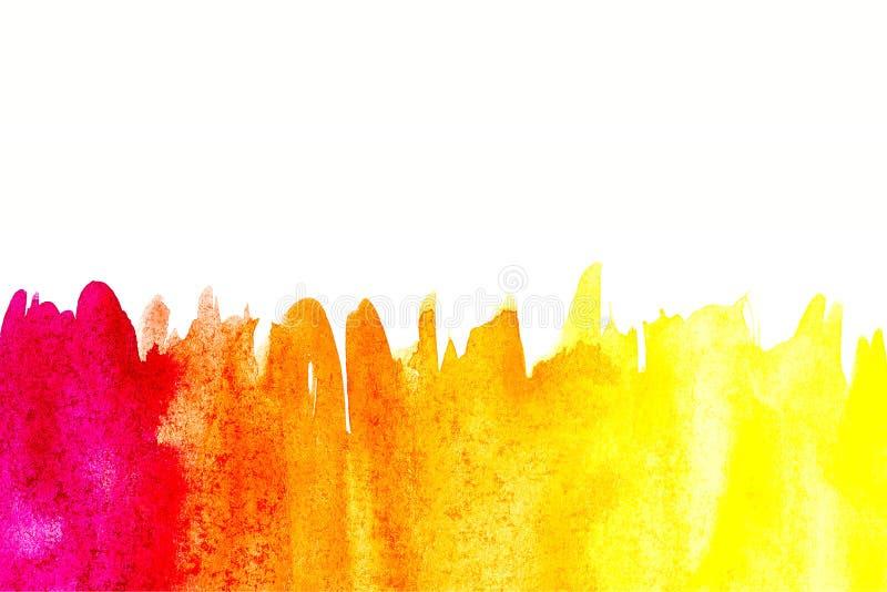 Frontera de la pintura abstracta de la mano del arte de la acuarela en el fondo blanco Fondo de la acuarela imágenes de archivo libres de regalías