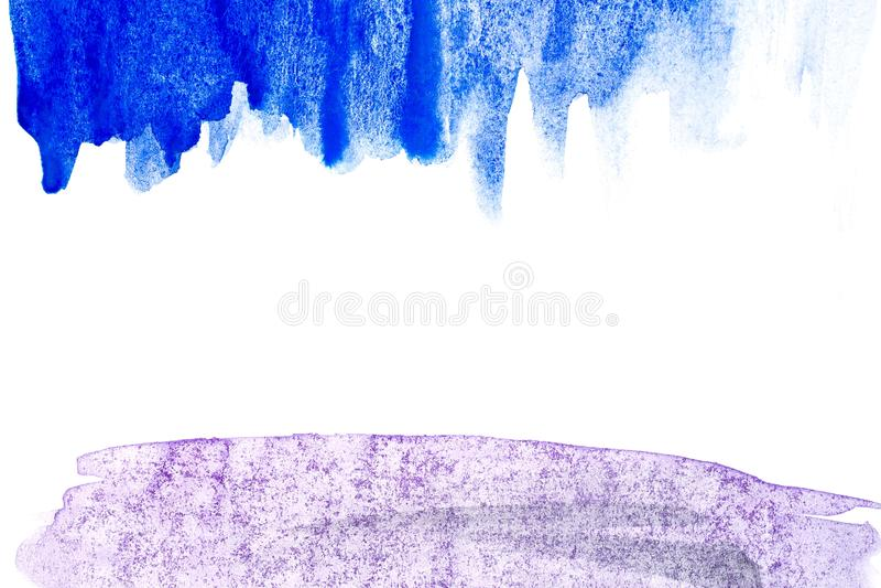 Frontera de la pintura abstracta de la mano del arte de la acuarela en el fondo blanco Fondo de la acuarela fotografía de archivo