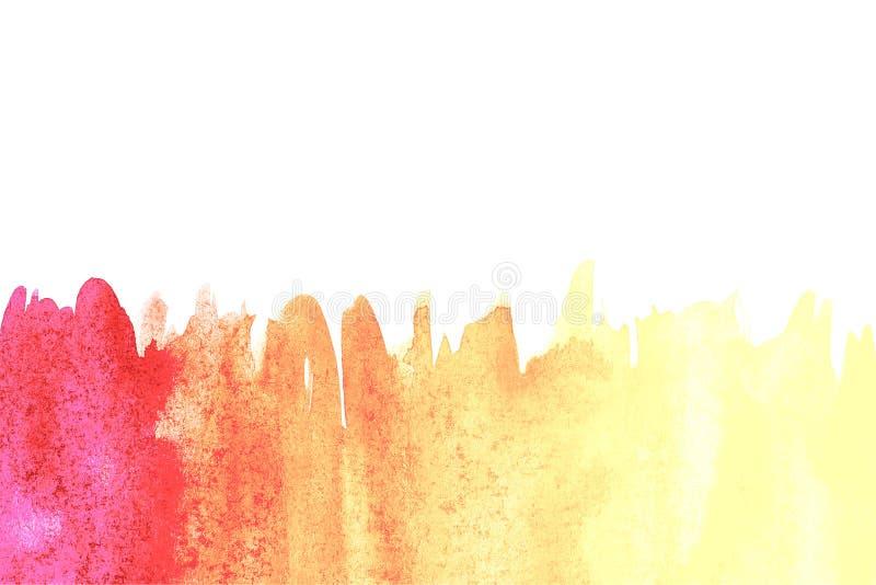 Frontera de la pintura abstracta de la mano del arte de la acuarela en el fondo blanco Fondo de la acuarela ilustración del vector