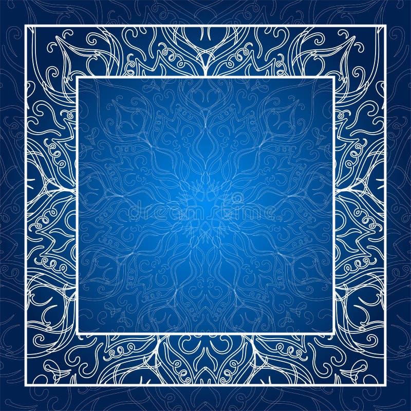 Frontera de la vendimia Tarjeta de la invitación del cordón Mandala azul Marco que brilla intensamente ilustración del vector