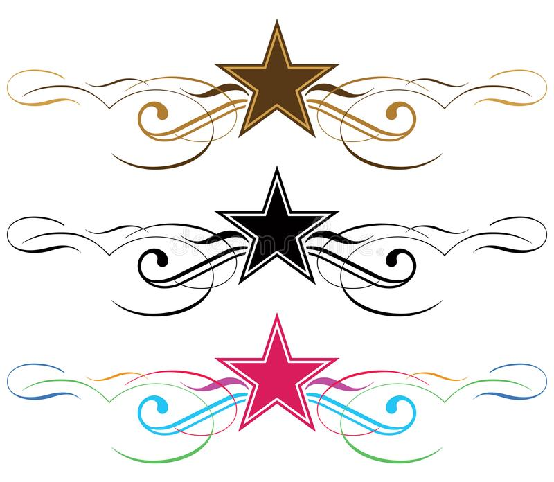 Frontera de la voluta de la estrella - illustraration del vector libre illustration