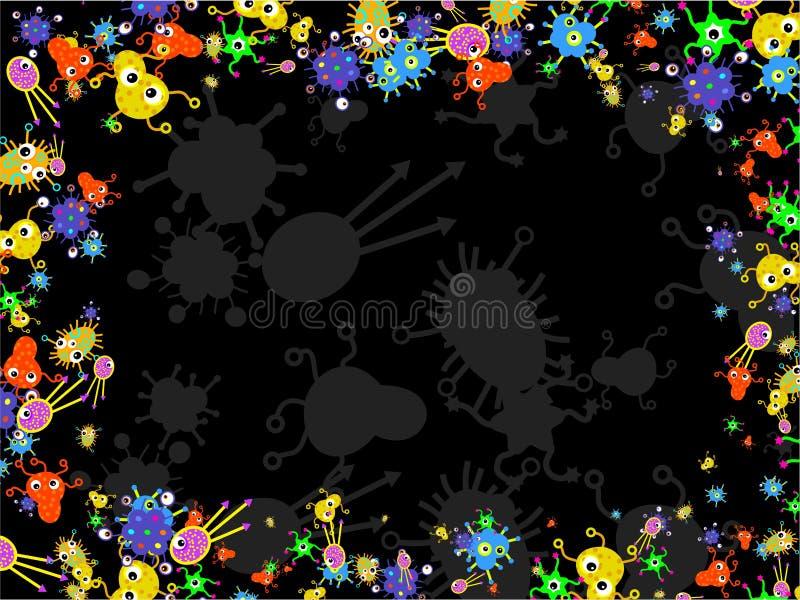 Frontera de las bacterias stock de ilustración