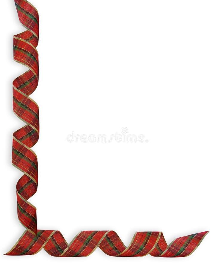 Frontera de las cintas de la tela escocesa de la Navidad stock de ilustración