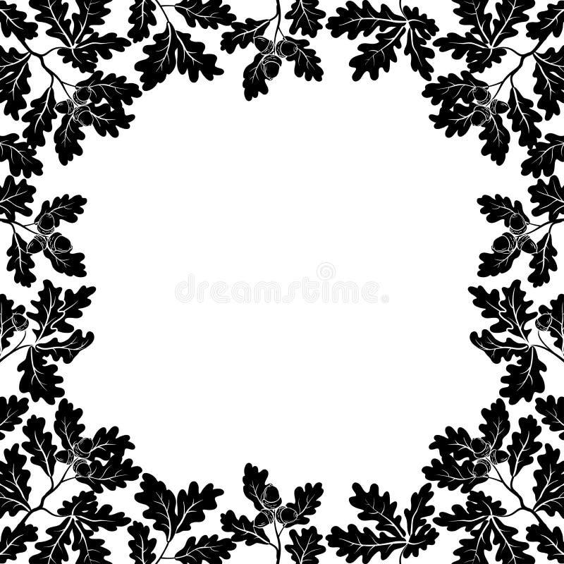 Frontera de las ramas del roble, contornos negros stock de ilustración