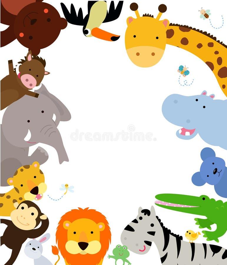 Frontera de los animales de la selva de la diversión ilustración del vector