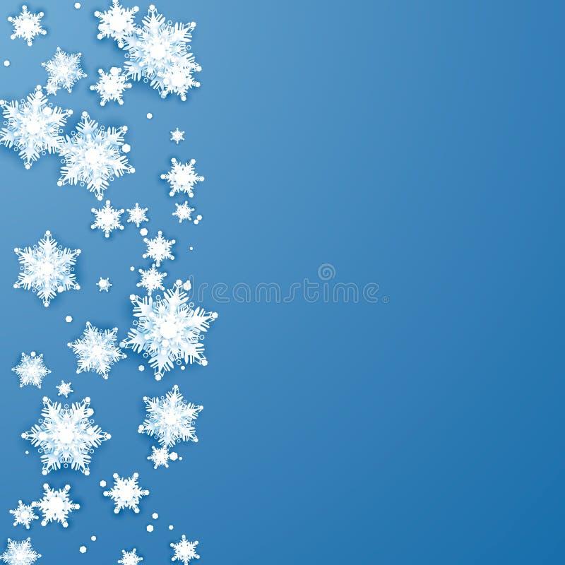 Frontera de los copos de nieve de la papiroflexia Elemento de la decoración del día de fiesta de la Navidad y del Año Nuevo Ejemp ilustración del vector