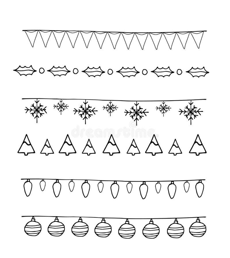 Frontera de los elementos de la Navidad del colorante stock de ilustración