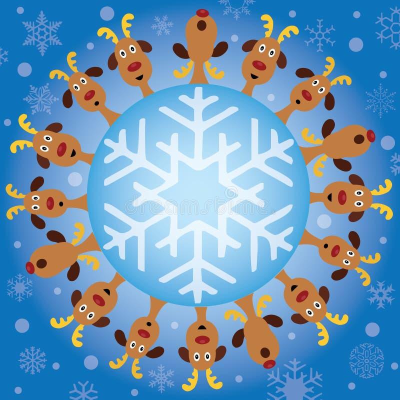 Frontera de los renos de la Navidad stock de ilustración