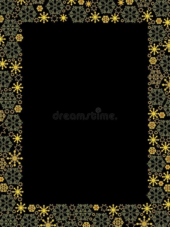 Frontera de oro de lujo de los copos de nieve ilustración del vector