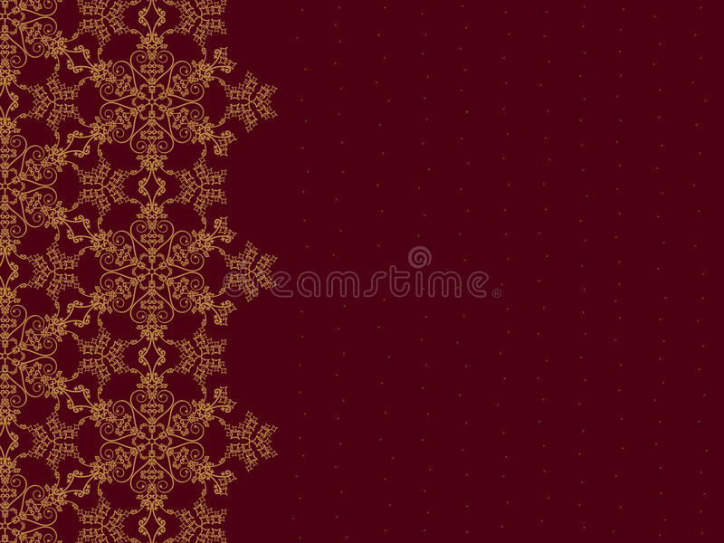 Frontera de oro del copo de nieve stock de ilustración