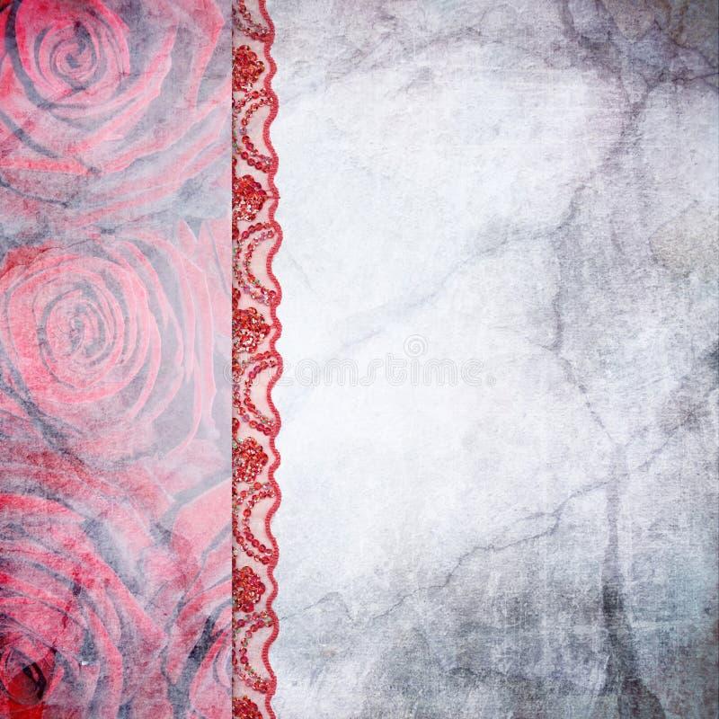 Frontera de rosas y del cordón. Fondo libre illustration