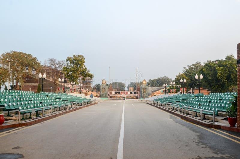 Frontera de Wagah, frontera de Paquistán la India, Lahore Paquistán el 28 de febrero de 2016 imagen de archivo libre de regalías