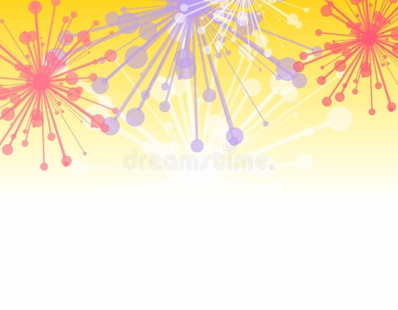 Frontera decorativa de los fuegos artificiales stock de ilustración