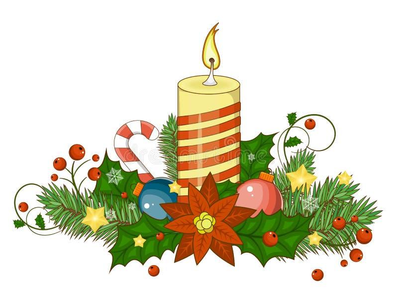 Frontera decorativa de objetos tradicionales de una Navidad Ilustración del vector libre illustration