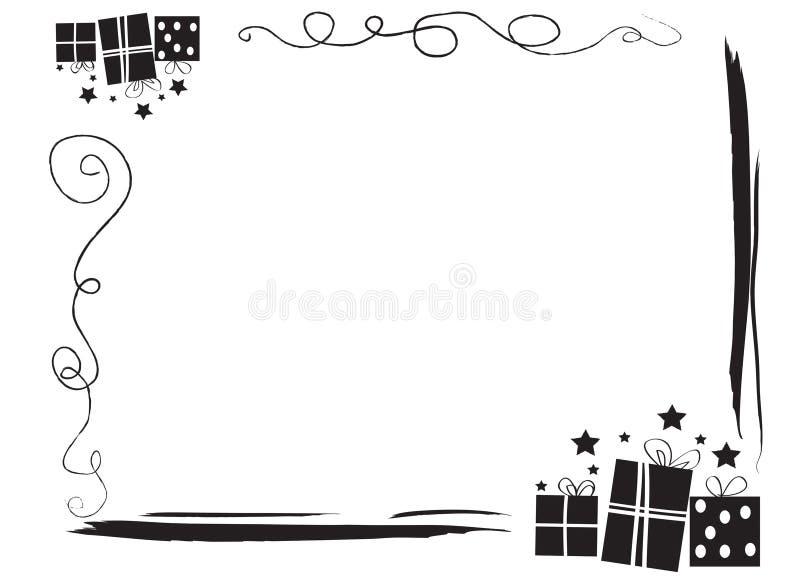 Frontera decorativa del marco con los regalos stock de ilustración