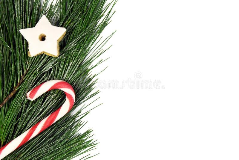 Frontera del árbol de navidad con el bastón de caramelo y el pan de jengibre imagenes de archivo