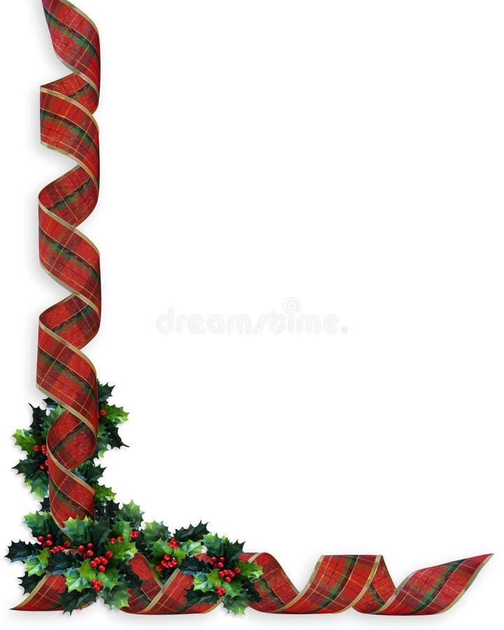 Frontera del acebo de las cintas de la Navidad ilustración del vector
