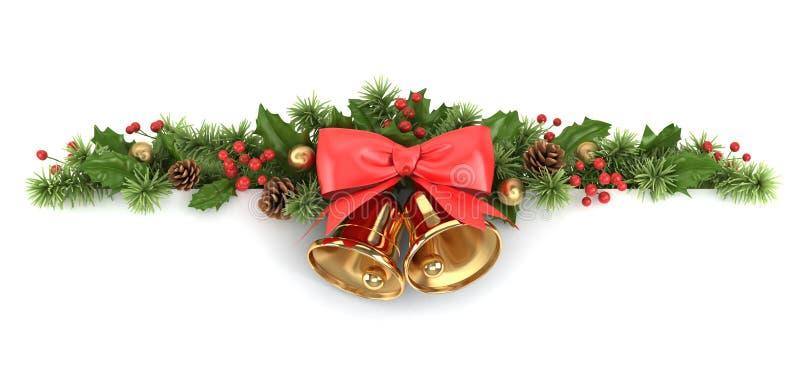 Frontera del acebo y del árbol de navidad. stock de ilustración