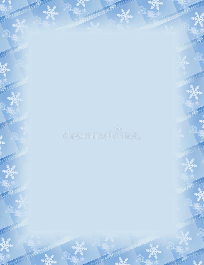 Frontera del azulejo del copo de nieve sobre azul stock de ilustración