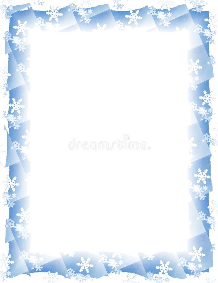 Frontera del azulejo del copo de nieve sobre blanco ilustración del vector