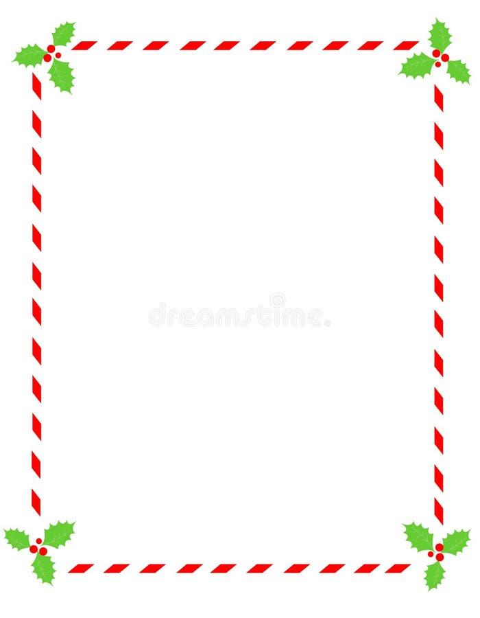 Frontera del bastón de caramelo con acebo ilustración del vector