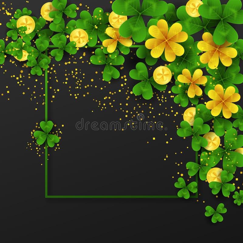 Frontera Del Día De St Patrick S Con Verde Y Oro Cuatro Y Tréboles ...