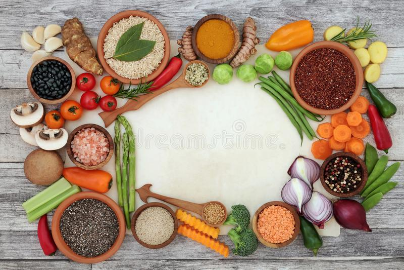 Frontera del fondo de la comida de la dieta sana fotografía de archivo