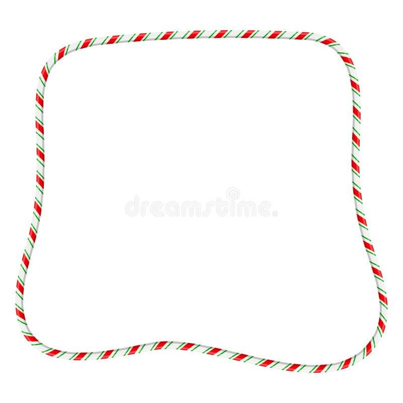 Frontera del marco del bastón de caramelo para el diseño de la Navidad aislada en b blanco stock de ilustración