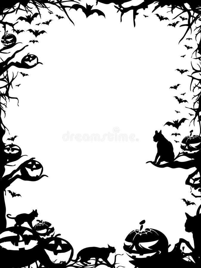 Frontera del marco de Halloween aislada en blanco ilustración del vector