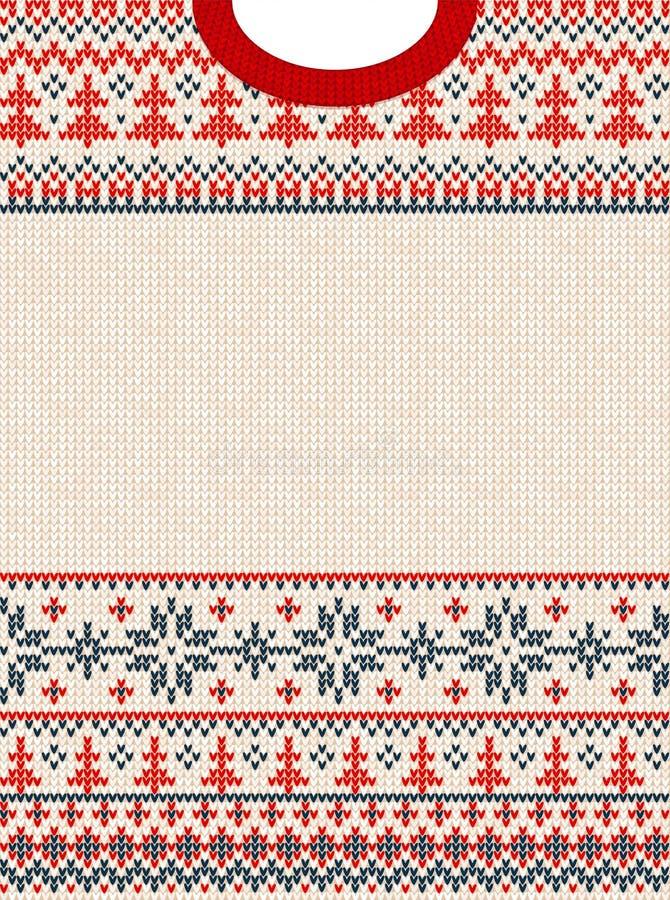 Frontera del marco de la tarjeta de felicitación de la Feliz Navidad del suéter feo y de la Feliz Año Nuevo Fondo hecho punto eje libre illustration