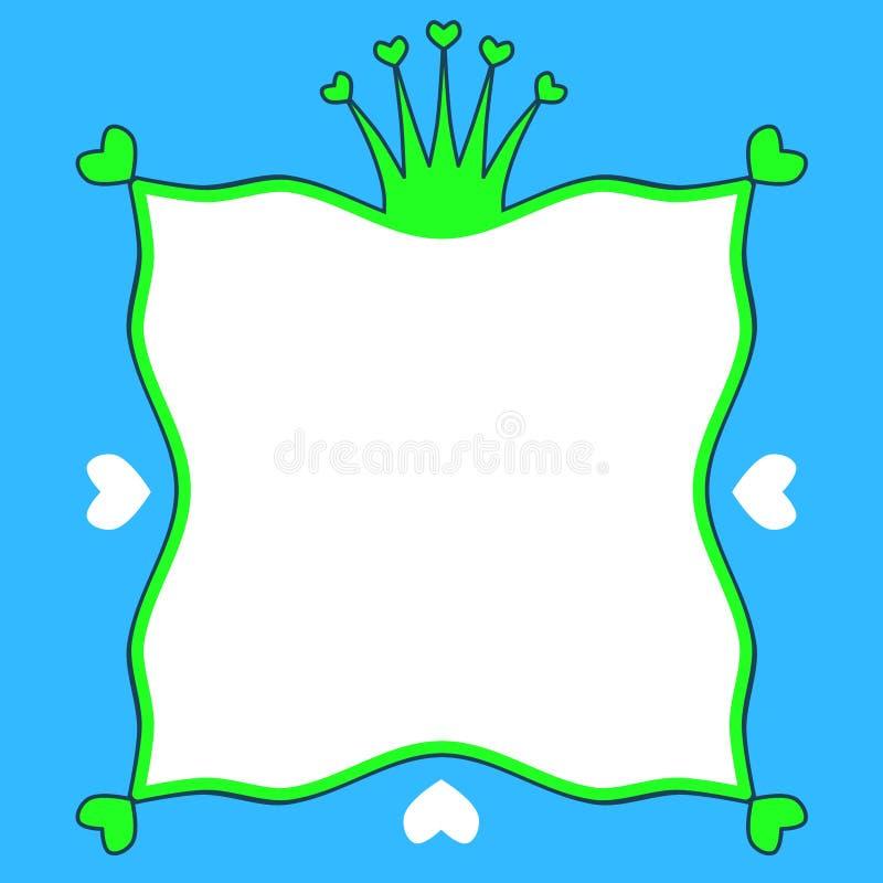 Frontera del marco de príncipe Frog Crown Hearts stock de ilustración