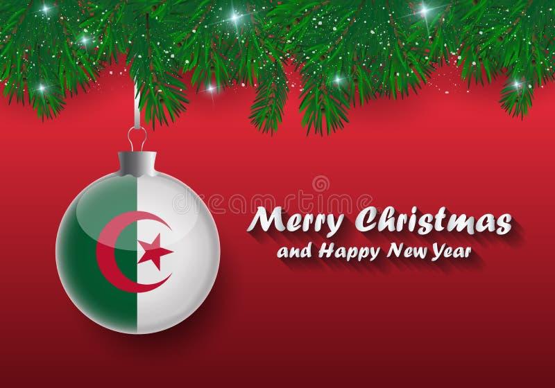 Frontera del vector de las ramas y de la bola de árbol de navidad con Argelia f ilustración del vector